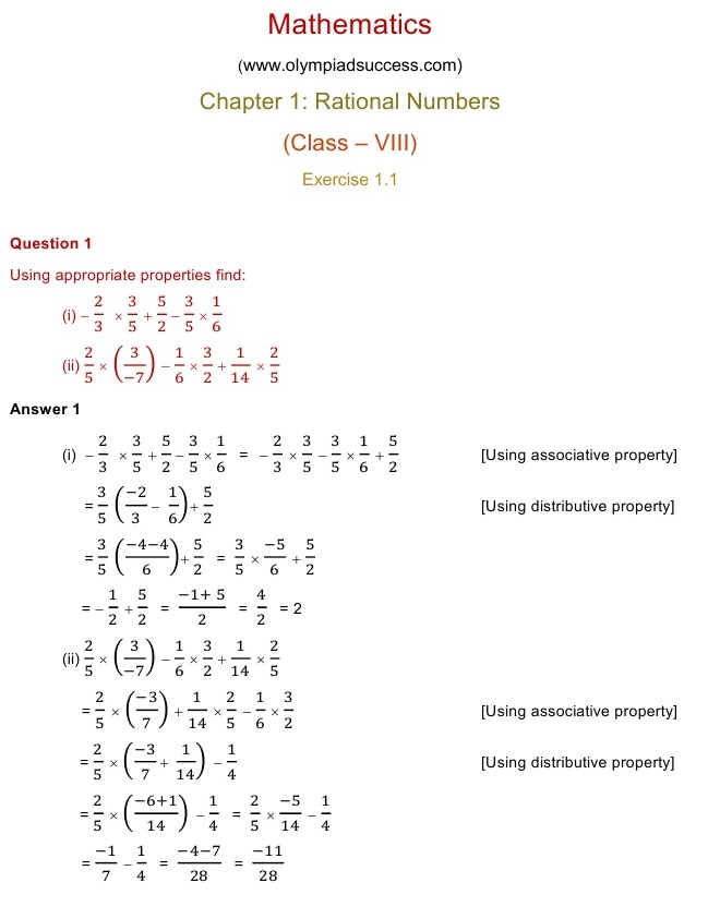 NCERT Solutions for Class 8 Mathematics Chapter 1: Rational Numbers ...