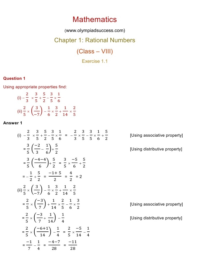 ncert solutions for class 8 maths chapter 1 exercise 1 1