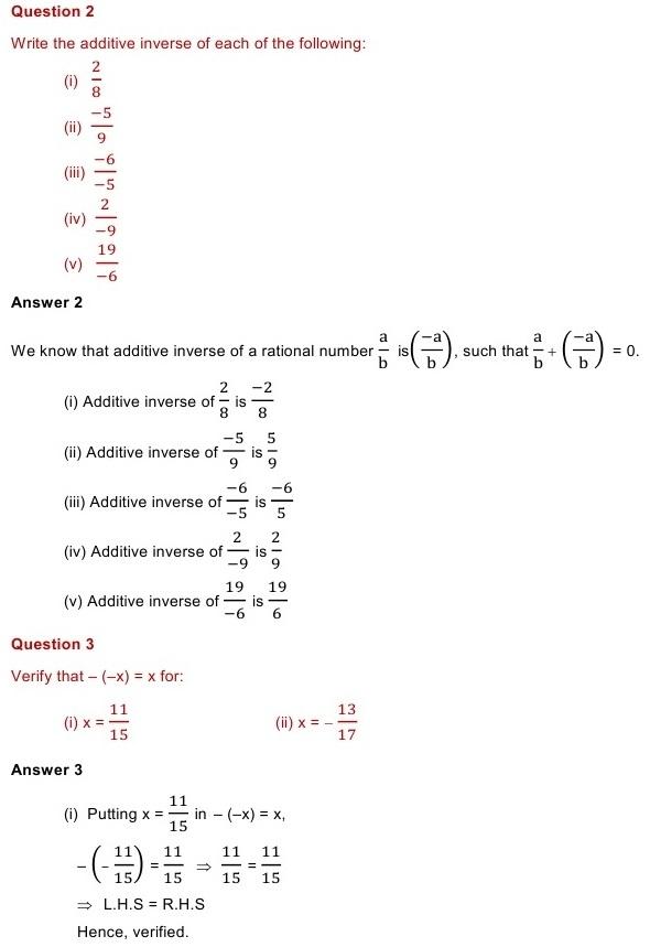NCERT Solutions for Class 8 Mathematics Chapter 1: Rational