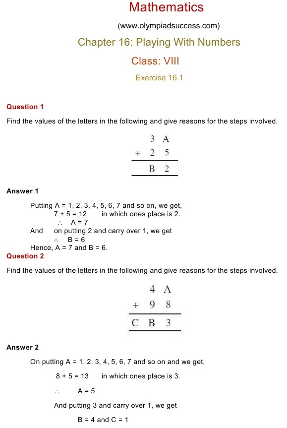 NCERT Solutions for Class 8 Mathematics Chapter 16: Playing With ...