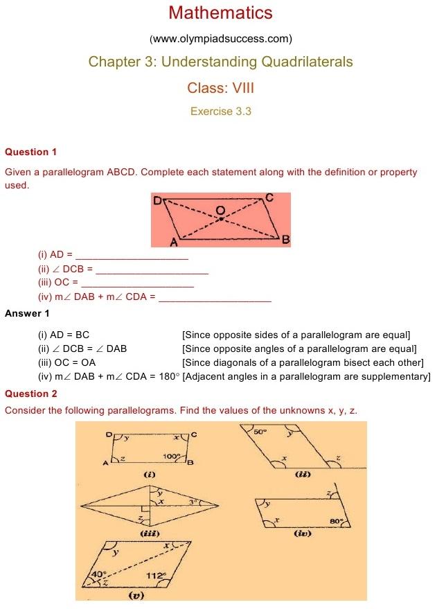 NCERT Solutions for Class 8 Mathematics Chapter 3: Understanding ...