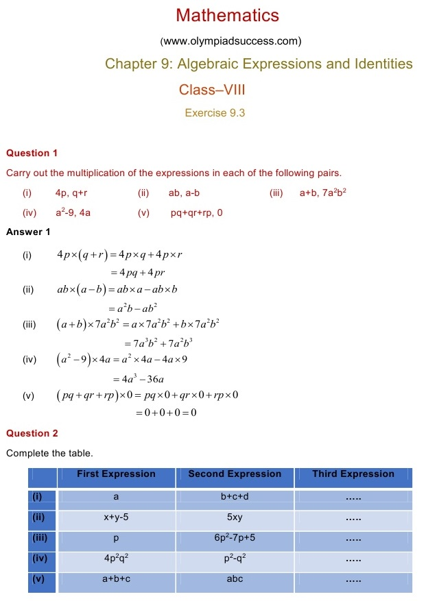 NCERT Solutions for Maths Class 8 Chapter 9