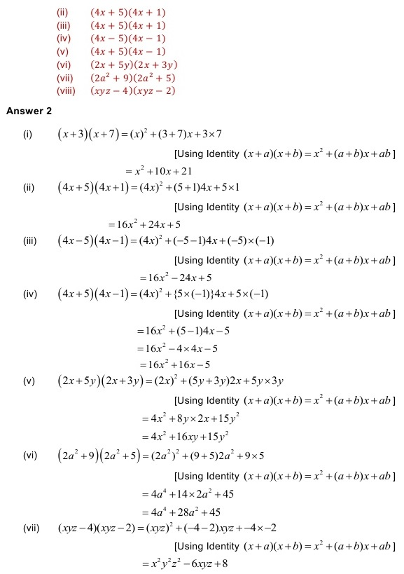 NCERT Solutions for Class 8 Mathematics Chapter 9: Algebraic