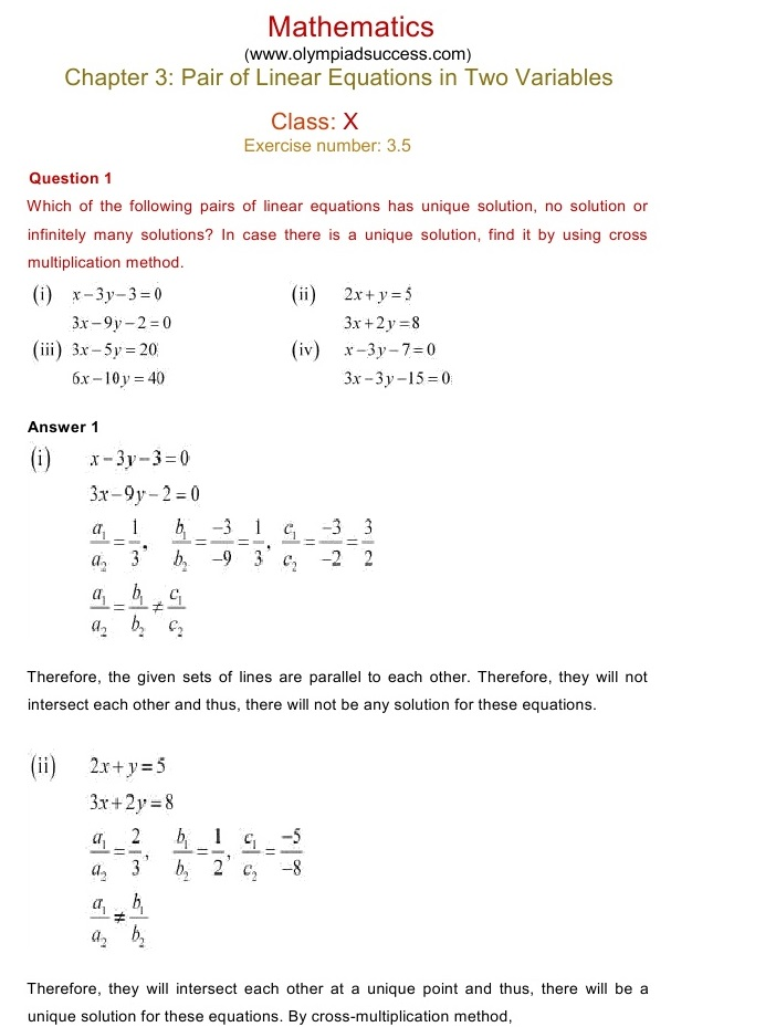 NCERT Solutions for Class 10 Mathematics Chapter 3: Pair of