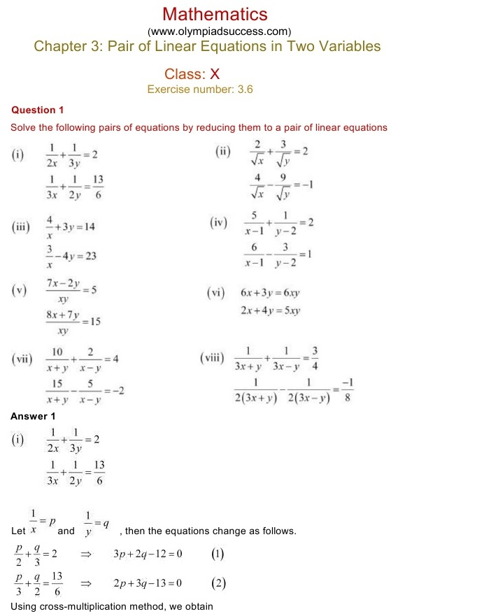 NCERT Solutions for Class 10 Mathematics Chapter 3: Pair of Linear ...