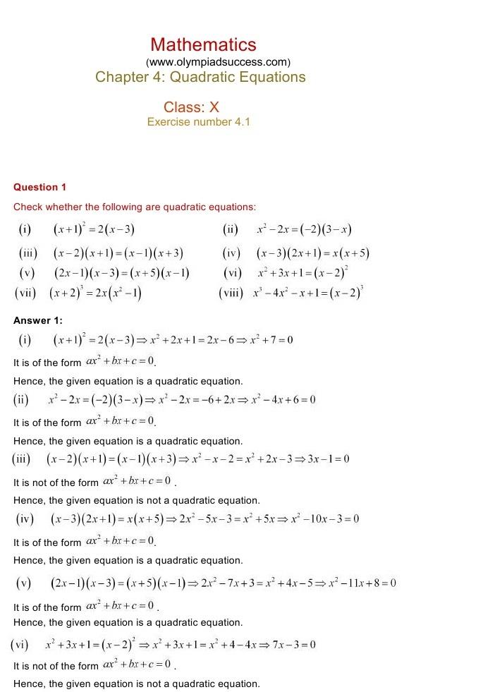 NCERT Solutions for Class 10 Mathematics Chapter 4: Quadratic ...