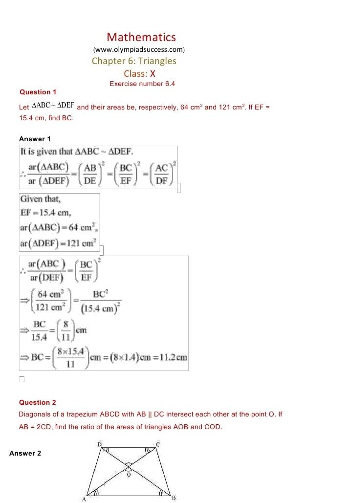 NCERT Solutions for Maths Class 10 Chapter 6