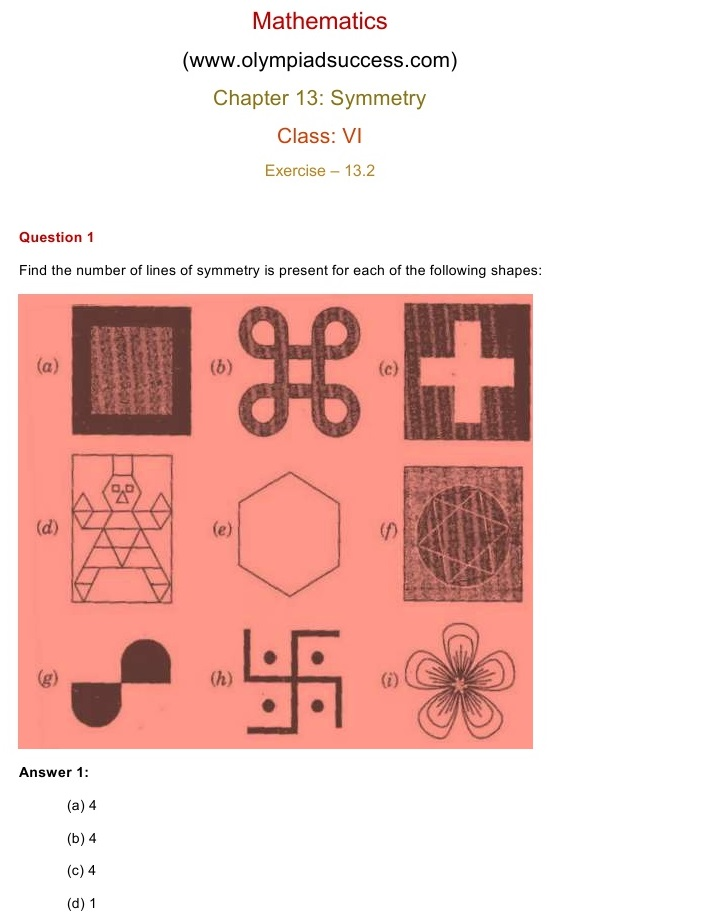 NCERT Solutions for Class 6 Mathematics Chapter 13: Symmetry