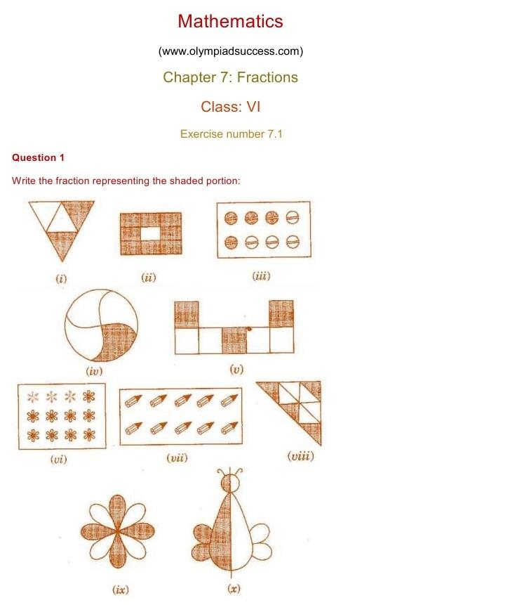 NCERT Solutions for Class 6 Mathematics Chapter 7: Fractions ...