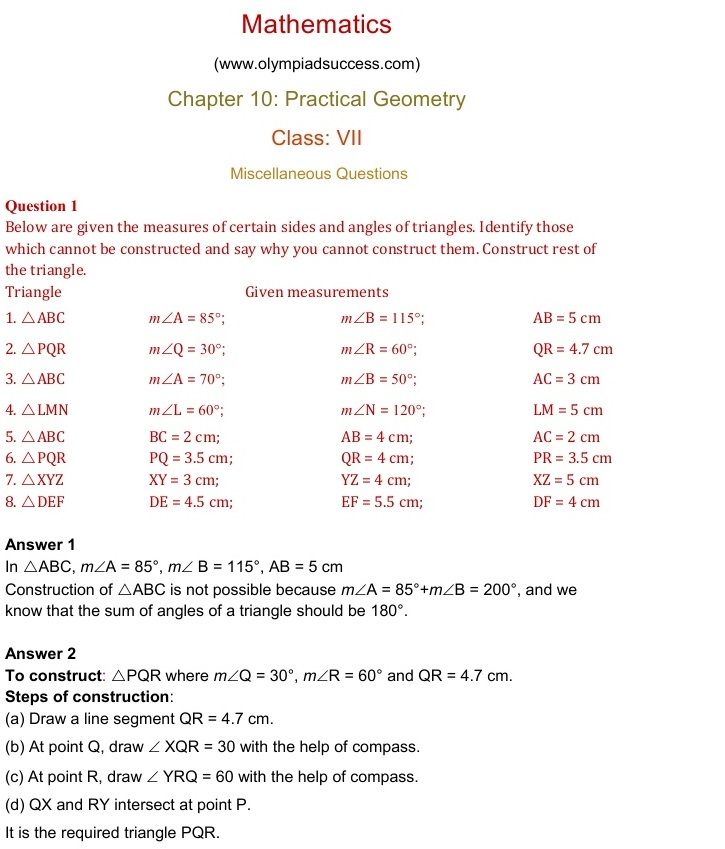Olympiad class 7 maths sample papers