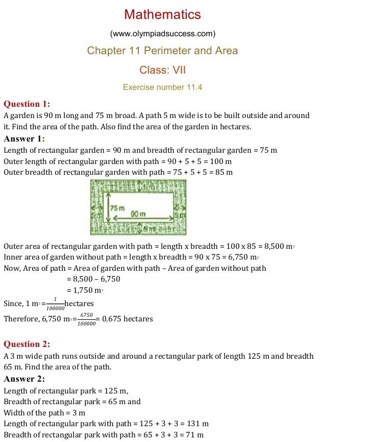 NCERT Solutions for Class 7 Mathematics Chapter 11