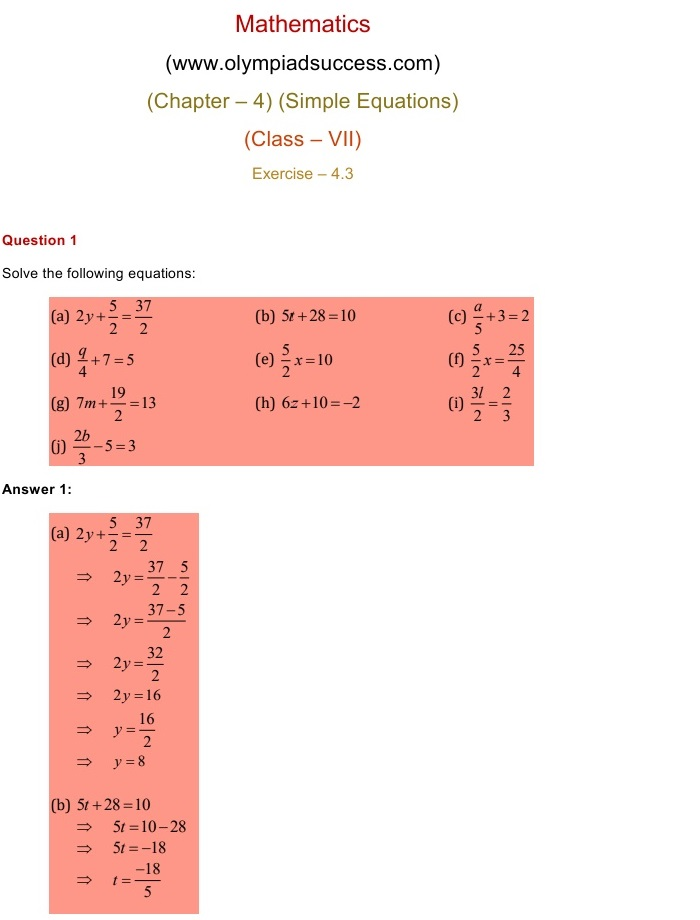 NCERT Solutions for Class 7 Mathematics Chapter 4: Simple Equations